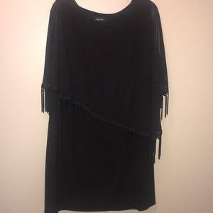 R & M Richards Black Tank Dress w/attached Poncho